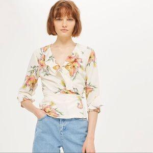 Topshop Floral Print Wrap Blouse